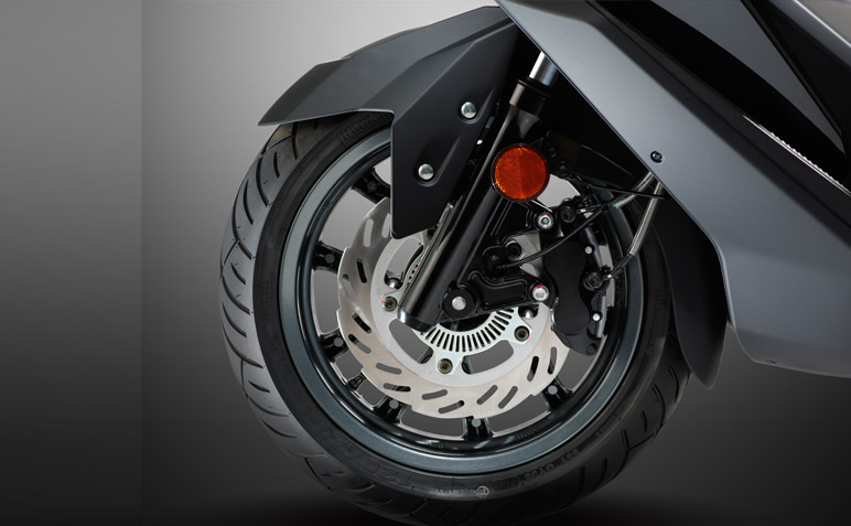 Upgraded Rr. Suspension Mechanism and Wheel enhance handling stability when riding on curve and uneven surface road. and Fr. Wheel equipped 260mm Fr. Disc + ABS bring more Security & Reliability.